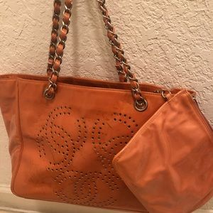 NWOT Chanel perforated unique patent leather.